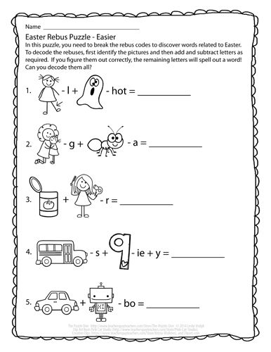 Free Easter Rebus Puzzles 2 Versions Available One Easy