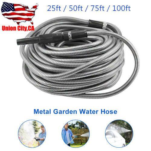 25 50 75 100ft Stainless Steel Flexible Metal Garden Water Hose Pipenozzle Kit Watering In 2020 Water Hose Water Garden Hose