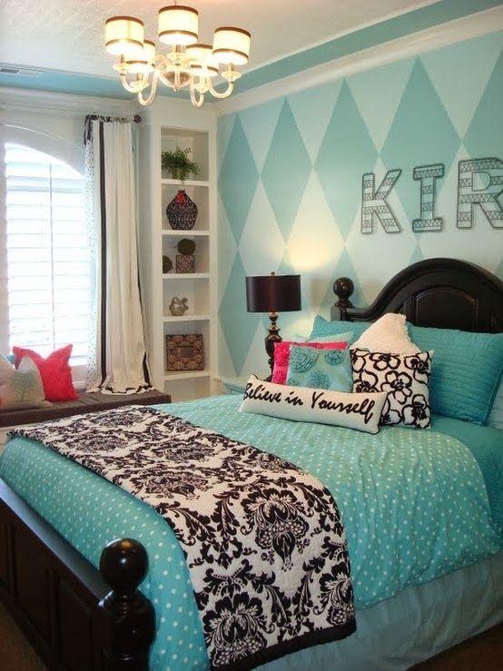 Dormitorio con turquesa