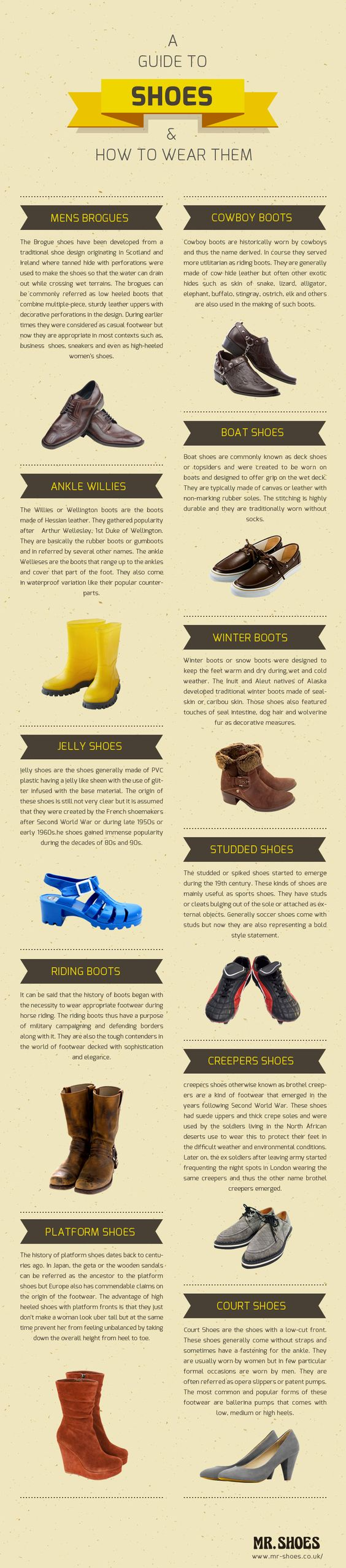 A guide to shoes and how to wear them.  http://www.mr-shoes.co.uk/