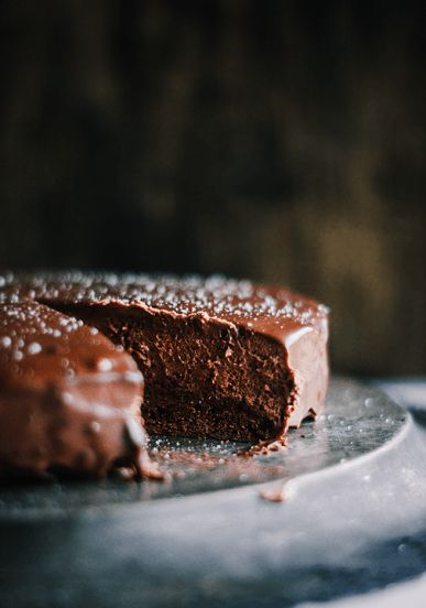 Chocolate Bourbon Mousse Cake with Ganache