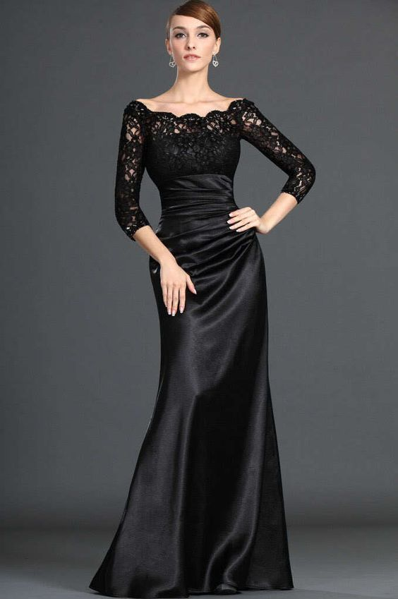 Modest Black Long Lace Sleeves Formal Evening Dress-in Evening ...