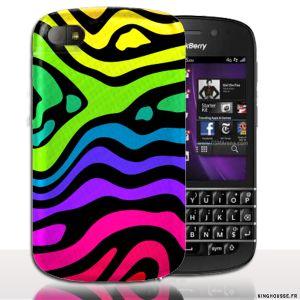 Coque BlackBerry Q10 | Design Zebre Multicouleurs | Coque de protection arriere