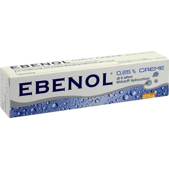 EBENOL 0,25 prozent Creme:   Packungsinhalt: 25 g Creme PZN: 04479146 Hersteller: Strathmann GmbH & Co.KG Preis: 3,59 EUR inkl. 19 %…