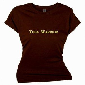 Flirty Diva Tees Woman's SoftStyle T-Shirt-Yoga Warrior-Brown-Yellow (Apparel)