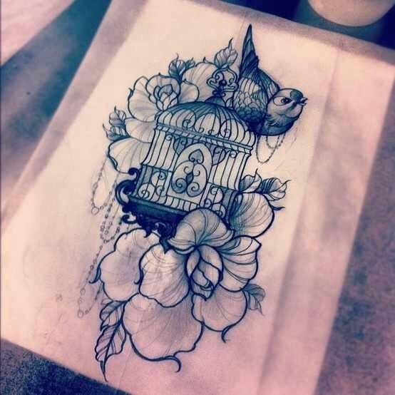bird cage tattoos | Cage And Flowers With Bird Thigh Tattoo Design