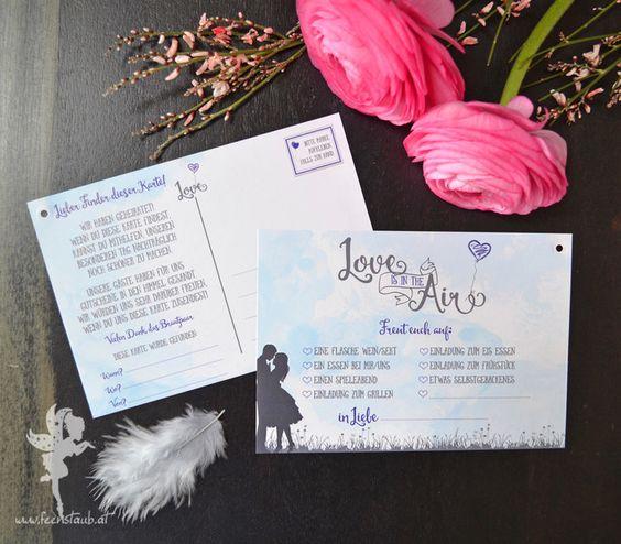 """Hochzeitskarten - 30 Luftballonkarten ❤ """"Love is in the Air"""" - ein Designerstück von Feenstaub-Papeterie bei DaWanda"""