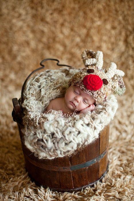 Santa's Reindeer Hat Baby Photography Prop Sizes Preemie, Newborn, 0-3 months, 3-6 months. $20.99, via Etsy.
