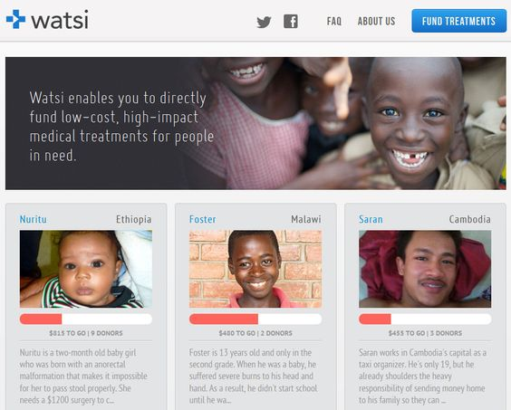If you learned, that for just a couple of bucks and the click of a mouse, you could help fund a $1,200 surgical procedure for a little girl in Ethiopia, would you do it? Watsi, a crowdfunding platform designed to help fund medical treatments for people in need, recently became the FIRST nonprofit accepted into American seed accelerator Y Combinator.