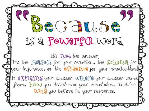 """""""Because is a powerful word"""" by The Inspired Classroom"""
