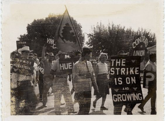 This photograph shows a group of people marching in support of striking farm workers, including members of the Emergency Committee to Aid Farm Workers. The ECAFW was an activist group which  lobbied for the discontinuance of the Bracero or foreign farm labor program under Public Law 78, and operated three federally funded antipoverty projects that provided counseling, basic educational skills and training to domestic farm workers. Max Mont Collection. Latino Cultural Heritage Digital…