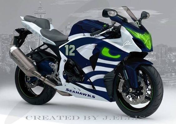 """Seahawks Bike, Seahawks Motorcycle. """"The Seahawks are no longer under the radar. They aren't anybody's darlings or a cool pick to splash into the playoffs. They are, simply, a very good team expected to be very good. Their world has changed."""""""