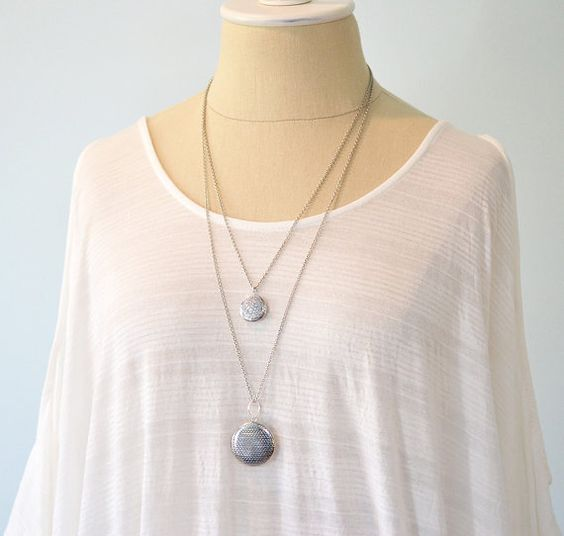 Long Locket Necklace  Double Strand by Nutmegjewelrydesigns, $38.00