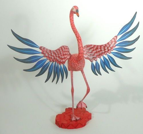 Oaxacan Wood Carving Flamingo Tribus Mixes Oaxaca | eBay