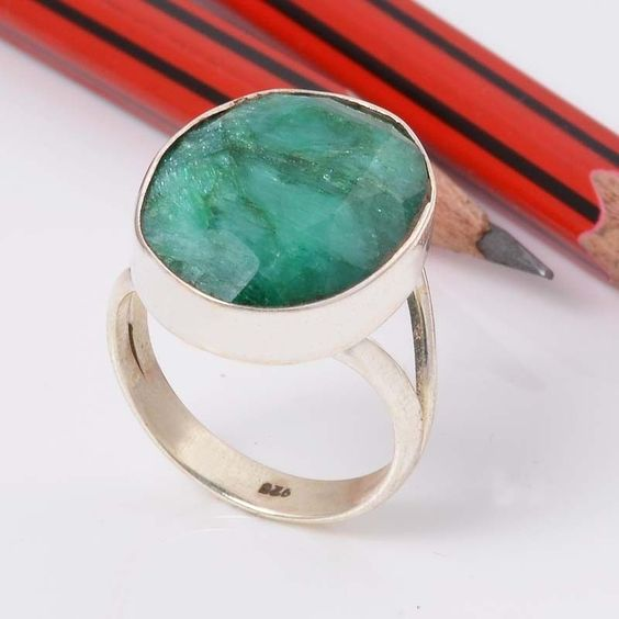 EMERALD 925 SOLID STERLING SILVER FASHION RING 5.35g DJR5734 #Handmade #Ring