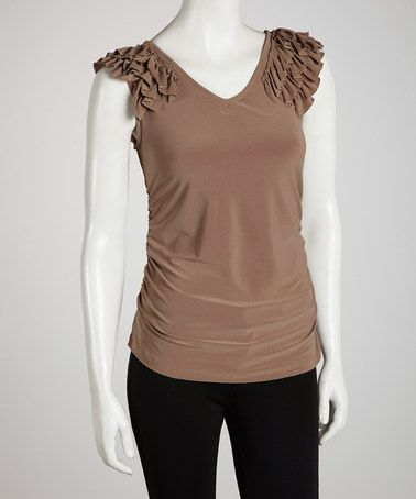 Take a look at this Mocha Ruched Ruffle Top by Sharon Max on #zulily today!