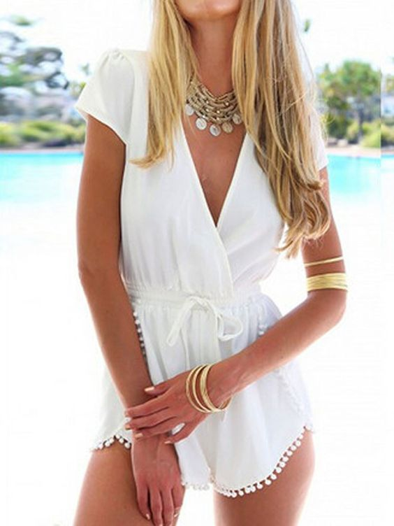 White,Deep V,Tie Waist,Short Sleeve,Pom Poms,Romper,Playsuit: