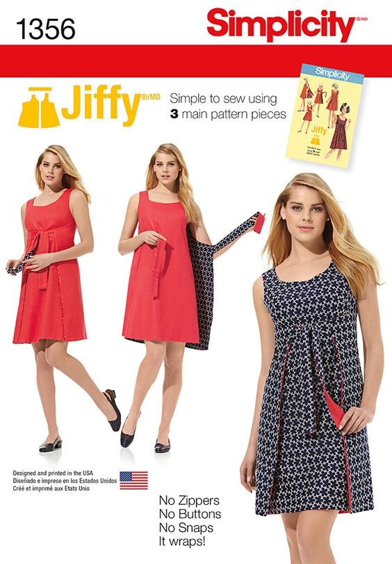 Misses' Vintage 1970's Jiffy® dress has three main pattern pieces for easy construction. Easy tie dress is also reversible. No zipper. No buttons. No snaps. It just wraps! Simplicity Sewing Pattern 1356.