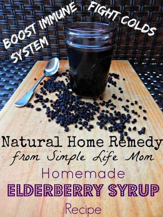 Natural Cold Remedy: Homemade Elderberry Syrup Recipe from Simple Life Mom. Easy, Frugal, and Yummy. Fight colds and flu naturally!