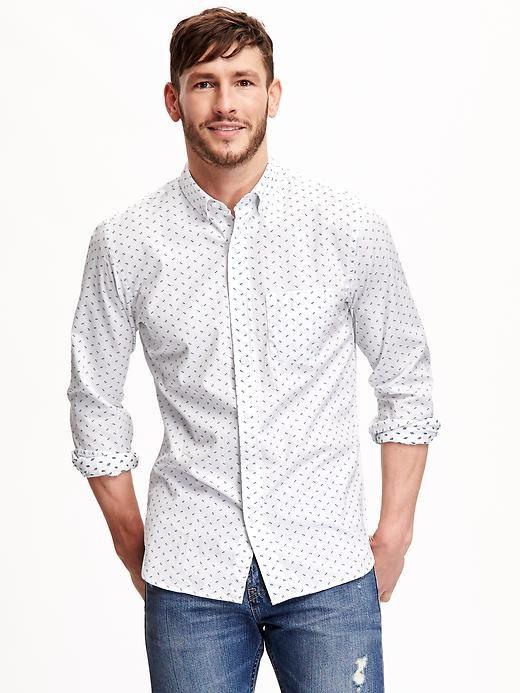 Slim-Fit Dobby Patterned Shirt for Men