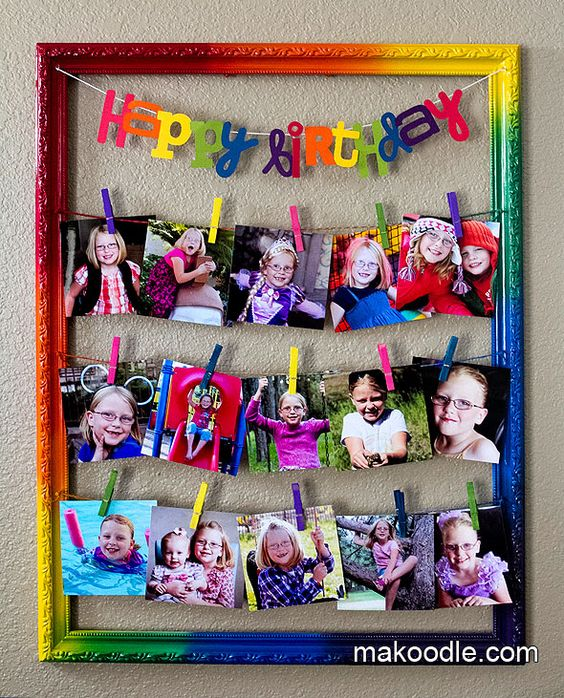 Cute, colorful & Fun! Rainbow Clothespin Picture Frame