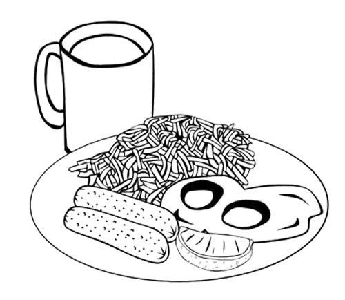 Spaghetti Eggs Sausage Coloring Sheet Food Coloring Pages Mandala Coloring Pages Coloring Pages For Kids