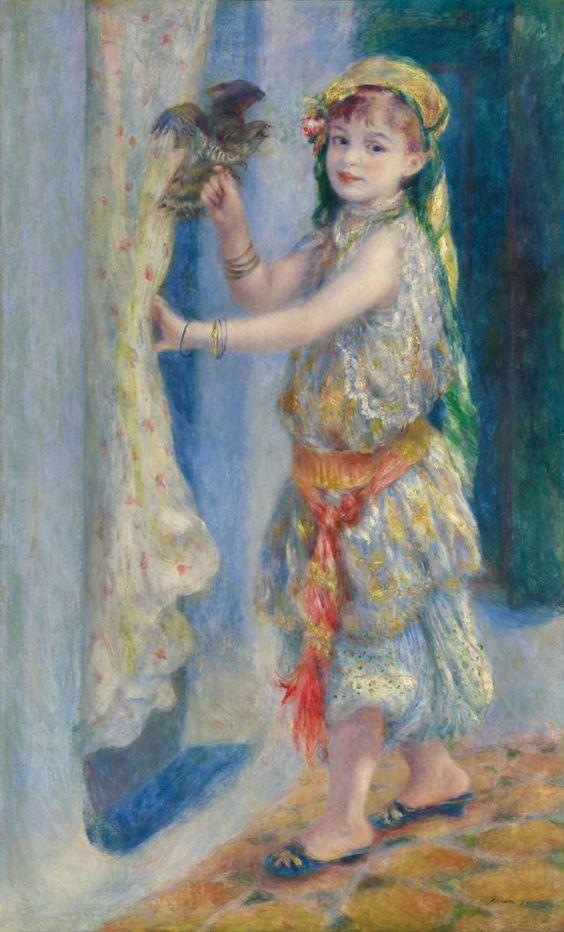 "Pierre-Auguste Renoir, ""Child with a Bird"" (Mademoiselle Fleury in Algerian Costume), 1882, oil on canvas.:"