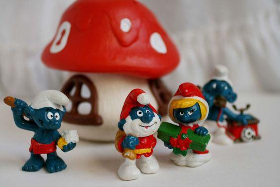 Vintage Peyo Smruf Mushroom House and Smurfs, Christmas Papa Smurf, Smurfett, Sauna Smurf. by AbateArts on Etsy