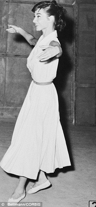 Got the moves: Hepburn, a former ballet dancer (pictured in Rome on the set of War and Peace in 1955), said she thought her feet were too big.