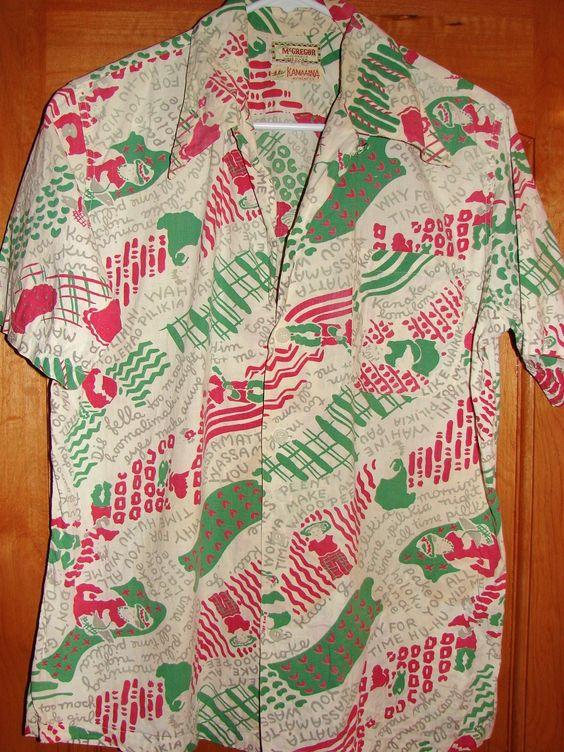 Vintage 1940s Pidgin English Sayings Aloha Shirt by Kamaaina McGregor