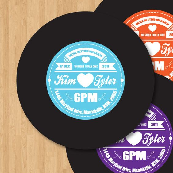 Vinyl Record Label Wedding Invitation DIY set (printable) | Vinyls ...