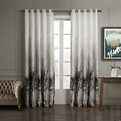 (Um painel superior grommet) árvores estilo da pintura de tinta cortina de poupança de energia