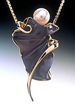 14K pendant with blue chalcedony and pearl. Nancy Ellinghaus. Skraight sexy.: