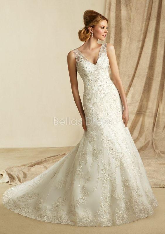 V Back V Neck Sheath/ Column Chapel Train Lace Wedding Dress