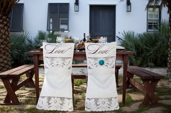 Pretty chair covers for wedding @juliane Morrison