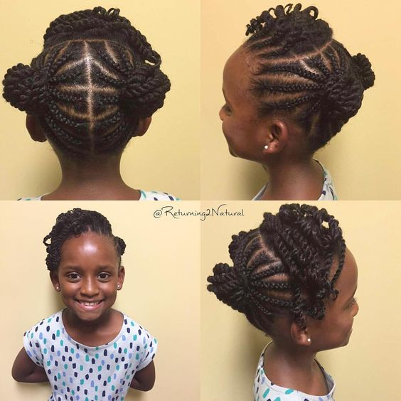 Braid N Twist Buns w/ Bangs | Book your appointment today. Call/Text 704-340-5322. #healthyhaircare #Returning2Natural