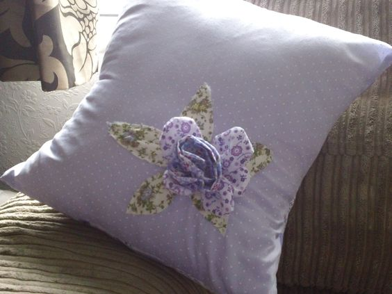 Cushion with applique rose detail....made by me!