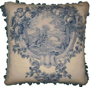 Blue and White Toile III Needlepoint Pillow