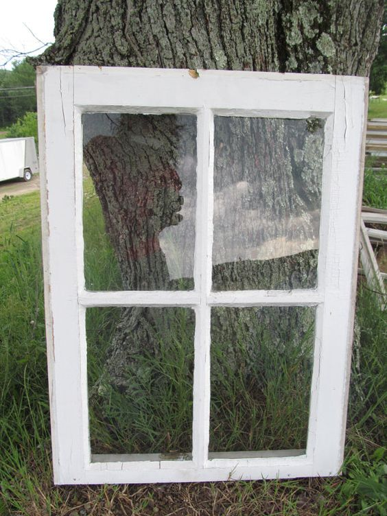Plain 4 Pane White Window Country Primitive by CountryCraftWindows, $22.00...want to buy an antique window frame :)