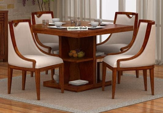 Bolton 4 Seater Dinning Set Honey Finish 4 Seater Dining Table Dining Table Set Designs Wooden Dining Table Set