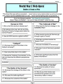 "World War I Webquest ""Battles and Fronts"" (World History) 