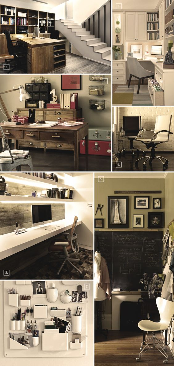Another mood board of ours showing different ideas and designs for creating a home office in the basement