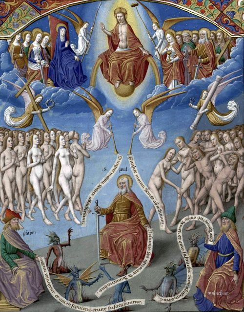 Augustin - De Civitate Dei contra Paganos (c. 1475). The Last Judgement. Illumination by Maître François.: