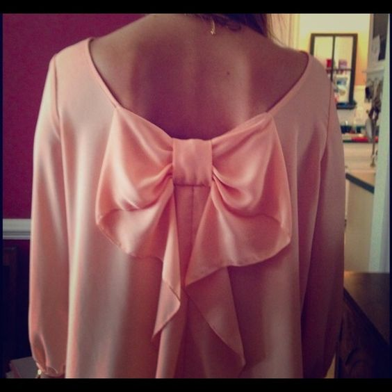 "Selling this ""Peach Bow Back Blouse"" in my Poshmark closet! My username is: btwiz22. #shopmycloset #poshmark #fashion #shopping #style #forsale #Coveted Clothing #Tops"