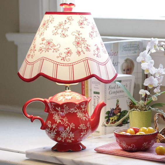 Teapot Lamp, Floral Lace And Lamps On Pinterest