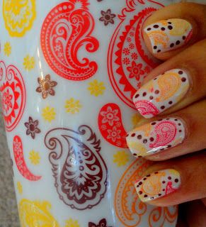 Coffee Cup Paisley Nails, November 2012: