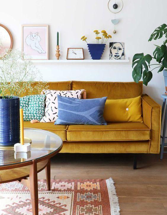 Mustard Velvet Sofa Retro Home Decor Retro Home Living Room Decor