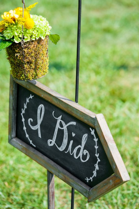 Chalkboard Ceremony Sign | Photography: Realities Photography. Read More: http://www.insideweddings.com/weddings/green-yellow-rustic-farm-wedding-in-north-carolina/500/