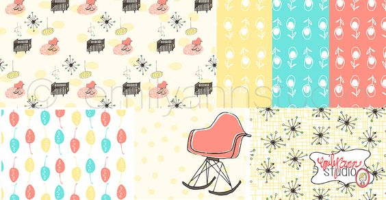 Mod Nursery. Surface Pattern Design. Available for licensing. Emily Ann Studio