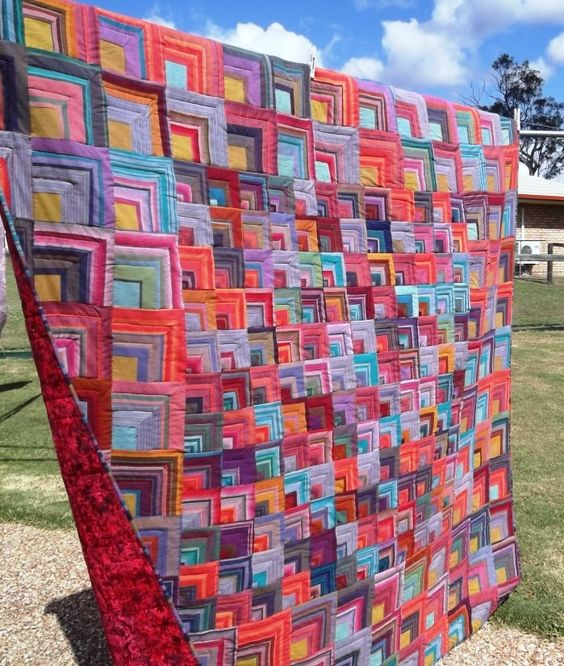 Handkerchief Corners quilt by Karen Mundt at Little Birdie Quilting Studio.  Design by Kaffe Fassett, on the cover of his book 'Passionate Patchwork'